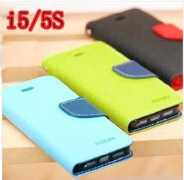 Wholesale Mercury Case Korea - Wholesale Korea Mercury Contrast double color flip PU leather case for iphone 4 4S 5 5S 5c , 9colours , Free shipping