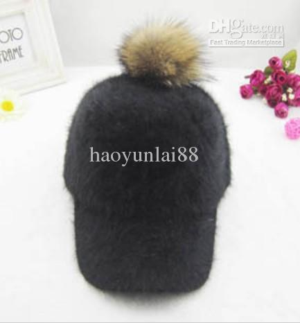 cute raccoon fur hat plush ball baseball lined hats rabbit