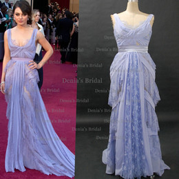 Wholesale Mila Kunis Celebrity Dresses rd Oscar Awards Red Carpet Dress Lavender Sheer Lace Chiffon Sweep Train Evening Dresses