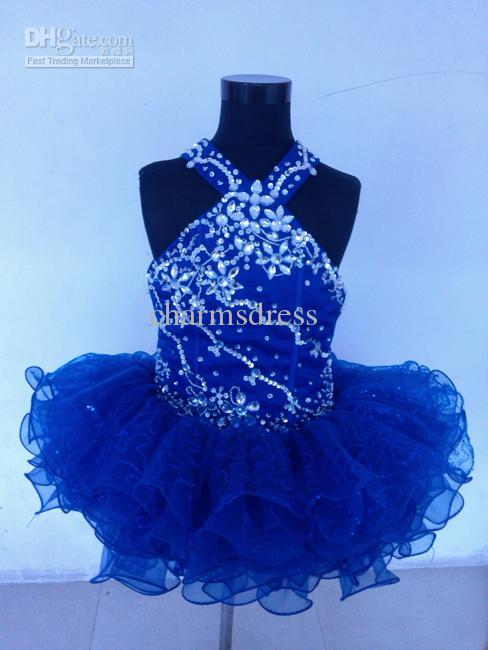 Nueva Royal Blue Organza Sobre la rodilla Mini vestido de bola Cristales Cabestro Cupcake Girl's Desfile de vestidos Infantil Toddler Dress