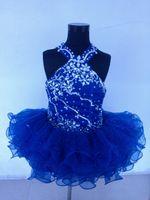 ingrosso yellow halter top dress-New Royal Blue Organza Sopra il ginocchio Mini abito da ballo Cristalli Halter Cupcake Girl Pageant Abiti infantile Toddler Dress