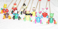 Wholesale Small Carts - Wooden toys cartoon animal carts small wooden carts single rod educational toys