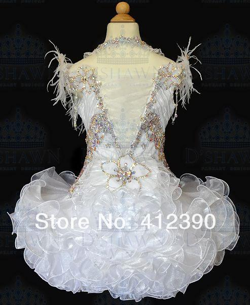 New White Organza Above knee/Mini Ball gown Crystals Halter feather Cupcake Girl's Pageant Dresses Infant Toddler Dress