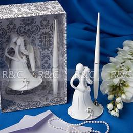 Wholesale Ceremony Set Pen - Retail Wholesale Resin Carved Bride and Groom Themed Wedding Pen set Wedding Ceremony Stuff Supplies Penholder