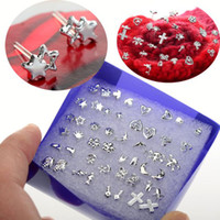 Wholesale Different Shapes - 10 Box 240 Pairs Silver Tone Different Shapes Ear Ring Studs Earrings Allergy Free Ship [JE20026*10]