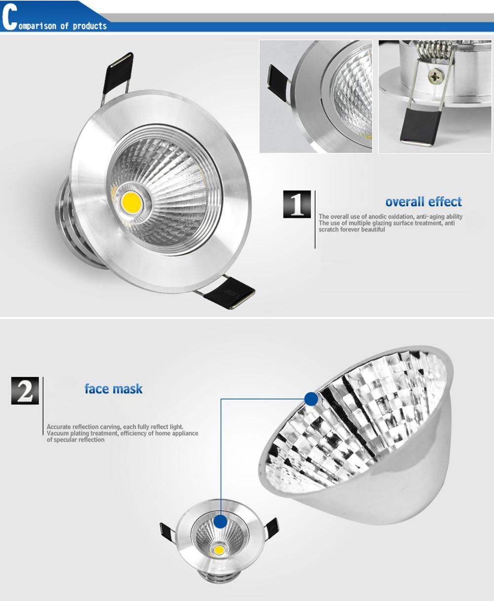 Горячий продавец COB 5W 9W 12W 15W светодиодные светильники потолочные светильники теплый / холодный / натуральный белый 4500K декоративные встраиваемые лампы с регулируемой яркостью / без