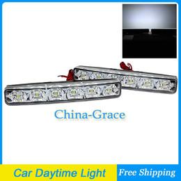 Wholesale Drl Car E4 - 6 LED E4 DRL Car Daytime Running Light, 12V Universal Waterproof Head Light White Free Shipping