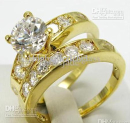 Wholesale Diamond Wedding Bands 14k - Free Shipping! Fashion Style 2pcs lovers womens mens 14K yellow gold filled wedding rings 2.68ct clear white gemstone ring diamond rings
