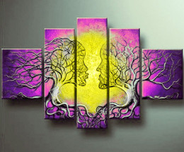 Wholesale Purple Art Canvas Large - Framed 5 Panel Large Tree of Life Abstract Oil Paintings Home Decor Purple and Yellow Canvas Art Wall Picture XD01791