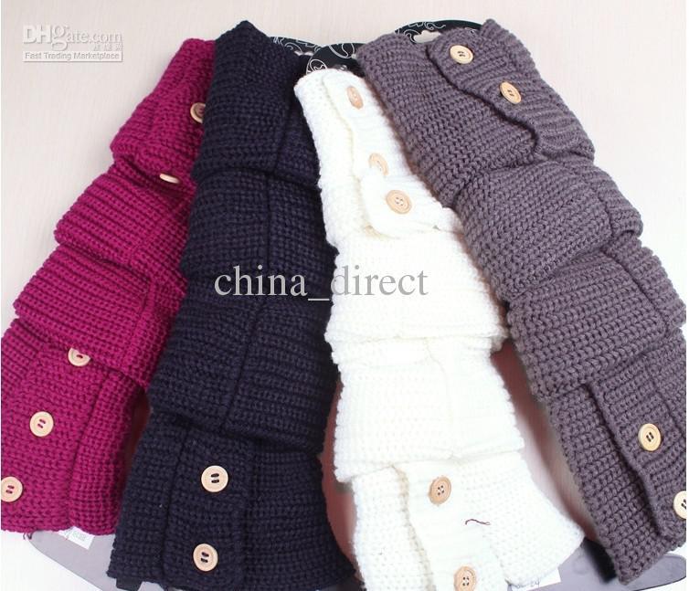 hiver conception de boutons solides jambières tricotées chaussettes bas bottes de protection leggings serré es / beaucoup de couleurs mélangées # 3436