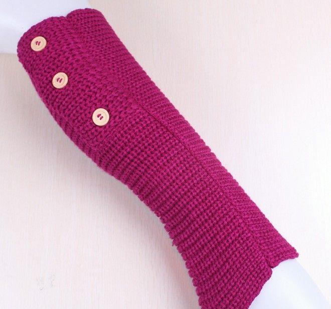 Winter fester Knopfentwurf gestrickte Bein-Wärmer-Strumpf-Socken-Stiefel-Abdeckungs-Gamaschen fest 24 Paare / Los mischte Farben # 3436