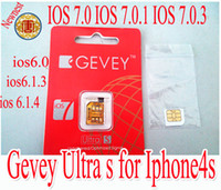 Wholesale Iphone S Unlocked - Newnest Gevey ultra s IOS 7.0 IOS 7.0.1 IOS 7.0.3 IOS 6.0- IOS 6.1.4 unlock sim card for iphone4s, free shipping