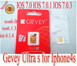 Wholesale Gevey Iphone Unlock Sim - Newnest Gevey ultra s sim card Support ios7 ios 7.0.1 ios 7.0.3 IOS 6.0- IOS 6.1.4 unlock sim card for iphone4s, free shipping