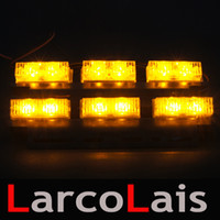 Larcolais Novo 2 x 6 LED Indicador Flashing Flash Strobe Emergência Grille Car Truck Light Lights LED Car Light