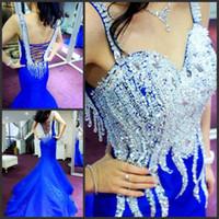 hermoso vestido de noche azul al por mayor-Por encargo 2018 hermosos cristales perlas cariño lujuriante azul real sirena vestido de fiesta / vestidos de noche azul real con cordones