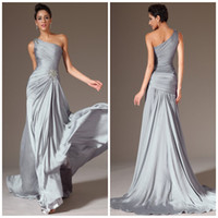Wholesale Sweep Brush One Shoulder - 2014 Best selling One shoulder A line Brush Satin-chiffon Silver Long Prom gowns Ruched Sexy Evening dresses Plus size Mother of the bride g
