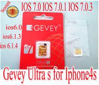 Wholesale Iphone S Unlocked - Original GEVEY Ultra S sim card ,gevey IOS 7.0 IOS 7.0.1 IOS 7.0.3 IOS 6.0- 6.1.3 IOS 6.1.4 sim card for iphone4s