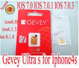 Wholesale Gevey Iphone Unlock Sim - Original GEVEY Ultra S sim card ,gevey IOS 7.0 IOS 7.0.1 IOS 7.0.3 IOS 6.0- 6.1.3 IOS 6.1.4 sim card for iphone4s