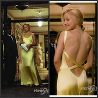 Wholesale Kate Melon - Kate Hudson Yellow Celebrity Dresses Sexy Spaghetti Straps Elastic Satin Backless Evening Dress in How to Lose a Guy in 10 Days MA92