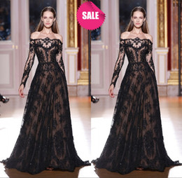 Wholesale Dress Spring Sex Free - Zuhair Murad Off Shoulder Long Sleeve Sex See Through A-Line Organza Applique Lace Evening Dresses With Crystal Beaded (get a gift for free)