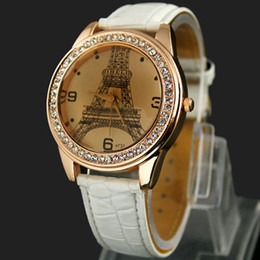 Wholesale eiffel tower candy - Promotion Luxury Women Watch Famous Eiffel Tower Fashion Candy Leather Sport Watches 6Colors to Choose Free Shipping Via DHL