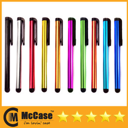 Wholesale Android Pen Stylus - Universal Cell Phone Capacitance Stylus Pen For iPhone 4 5 5S IPAD 3 4 Samsung Galaxy Android Mini Portable Colorful Stylus Pens