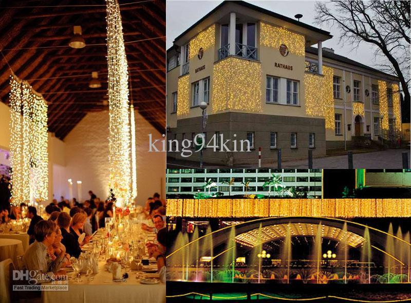 Full storlek / färg LED-lampor vattentäta gardinljus, 10 * 3,8 * 4,8 * 3,6 * 3,3 * 3,2 * 1,6 * 1,8 * 0,65,4 * 0,75, julfeed bröllops icicle Ljusremsa