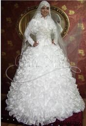 Lindo vestido muçulmano on-line-Custom Made 2019 NOVA chegada A-line Organza Muçulmano Gola Alta Vestidos de Casamento Branco Bonito Vestidos De Noiva Com Mangas Compridas Vestidos de Noiva