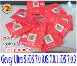 Wholesale Iphone S Unlocked - Gevey sim card Ultra S unlock sim card iPhone 4S for iOS7.0 iOS 7.0.1 iOS 7.0.3 iOS 6.1.4 6.1.3 6.1.2 IOS 7,gevey Ultra s sim card