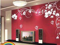 ingrosso adesivi per decalcomanie da camera-Vendita calda Bella Flower Wall Decalcomania di carta Art Stickers per la decorazione della casa Soggiorno camera da letto Divano TV Sfondo carta da parati pasta