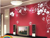 autocollant de fonds d'écran nature achat en gros de-Vente chaude Belle Fleur Papier Peint Decal Art Autocollants pour La Décoration Décoration Salon Chambre Canapé TV Fond Papier Peint Pâte