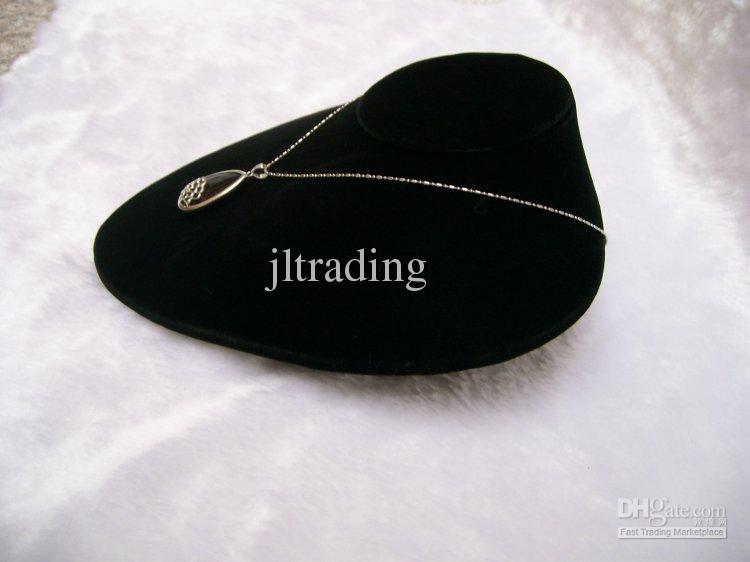 Jewelry Display Stands Black Velvet Mannequins Horizontal Necklace Pendant Holder Jewellery Display Bust Torso
