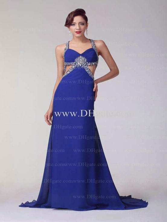 A Line Blue Chiffon V Neck Evening Dresses