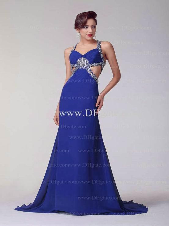 blue a line evening gowns