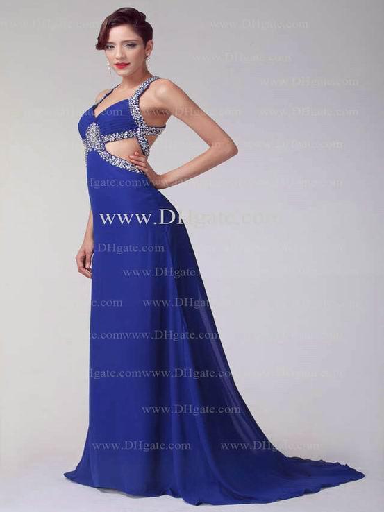 a line v neck chiffon evening dresses