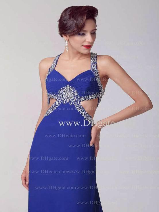 a line v neck evening dresses
