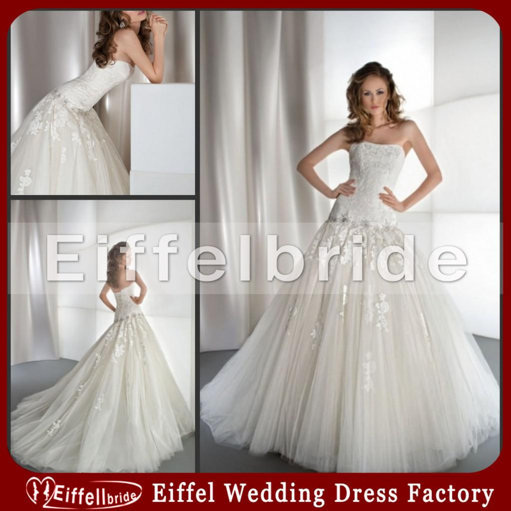 Ball Gown Strapless Wedding Dress with Low Waist Lace Appliques on ...