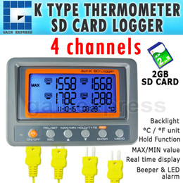 Wholesale Thermometer Temperature Logger - A0188598 Portable Wallmount Digital 4 Channel -328~2498 degree F C K Type Thermocouple 2GB SD Card Temperature Thermometer Logger