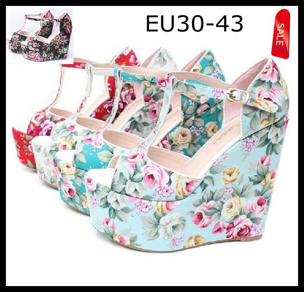 5b8c767e9f1 EU30 TO 43 Women s Plus Extra Size Floral Prints T-Strappy High Platform  Wedges Heel Sandals Shoes Christmas Gift
