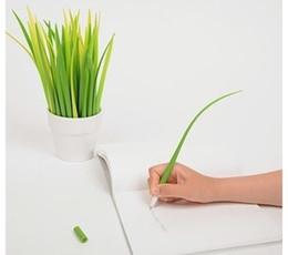 Wholesale Grass Art - South Korean creative small grass Pooleaf cute stationery Grass-blade pen pooleaf ballpoint pen small fresh G1178