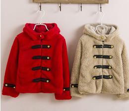 Wholesale Girls Lambs Wool Coat - HOT 2016 Girls Children's fashion warm hooded lamb cashmere coat jacket overcoat 5pcs lot