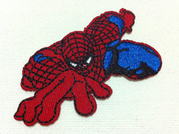 Barato Ferro Spiderman Appliques-Wholesales ~ 10 Pieces Comis Movie Spiderman (6,5 x 4 cm) Kids Patch Embroidered Iron On Patch Applique (ALL)