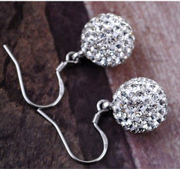 Wholesale Disco Ball Sterling - Shamballa Jewelry Earrings, 925 Sterling Silver Crystal Disco Ball Shamballa Stud Earrings with Gift Bag, Free Shipping SHEB001