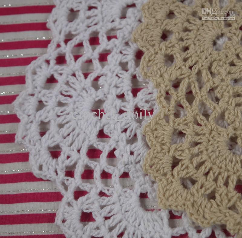 EMS Wholesale 18-20CM Handmade Crochet Placemats doily Cotton 100% cup pad mats tablecloth coasters