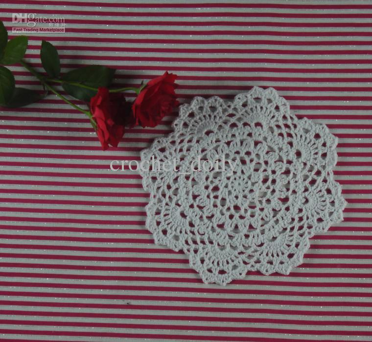 EMS Free Shipping Wholesale 400Piece 18-20CM Handmade Crochet Placemats doily Cotton 100% cup pad mats tablecloth coasters