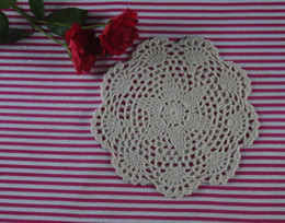$enCountryForm.capitalKeyWord Canada - EMS Free Shipping 400Piece Shabby Chic Vintage Look Placemats Crocheted Doilies 7Inch Crochet pattern doily cup Pad mats 18x18cm