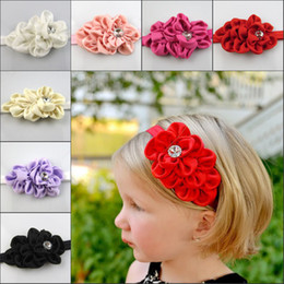 Wholesale Lace Headbands For Girls - Baby Girls flower Headband for Photography props Fabric Satin Flower Headbands with Acryl diamond Children's Hair Accessories