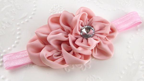 Bebán de flores de bebé para niños para fotografía accesorios para el cabello de las flores de satén con el diamante de acrílico Accesorios para el cabello de los niños