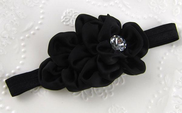 Baby Girls Flower Headband for Photography Props Fabric Satin Flower Headbands med Acryl Diamond Children's Hair Tillbehör