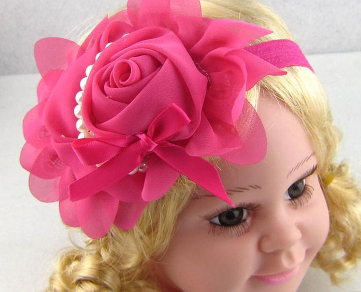 Vintage Infant Baby Girls Kids Hair Accessories Pretty Unique Rosette Petals Pearls Headbands Lovely Children Hair Bands